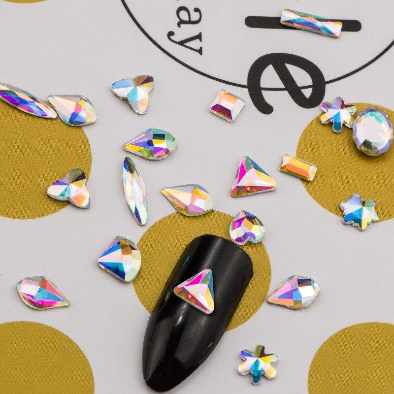 20Pcs Flat Back Marquise Earth Facets Clear Crystal AB Acrylic Triangle Horse Eye Shape Rhinestone Nail Art Diamond DIY Decor