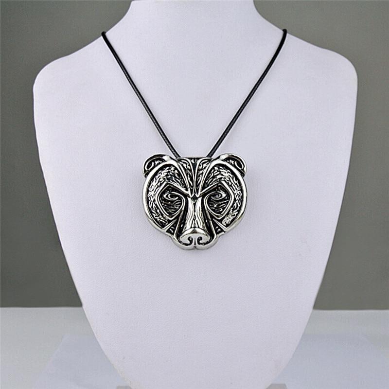 Collar de amuleto de oso nórdico Retro de 1 Uds., collar con colgante de amuleto de cabeza de oso legendario, joyas de Talismán