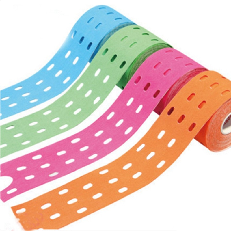 5*5cm 1 Roll Muscle Tape Bandage Sports Kinesiology Tape Roll Cotton Elastic Adhesive Strain Injury Muscle Sticker with Air hole