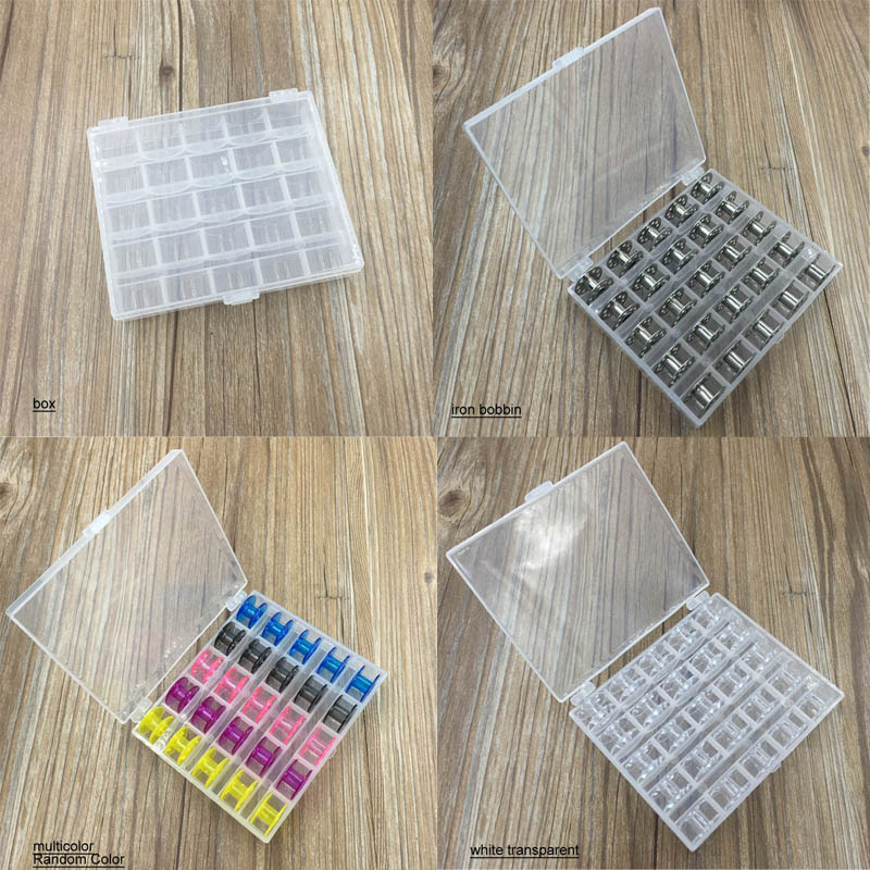 Caja de bobina de hilo de coser cajas de contenedor de plástico transparente bobina Multicolor soporte de la máquina de coser sostiene 25 organizador de almacenamiento