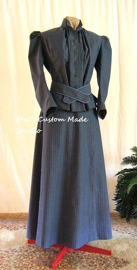 Custom Made -1800s Victorian Dress 1912 Edwardian&Titanic Style Bustled ShapedTwo-piece Travelling Costume/Theater Dress