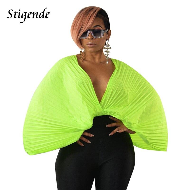 Stigende moda mujer Sexy gasa blusas plisadas sólido Casual profundo cuello V blusa camisas verano manga suelta Frill blusa Top