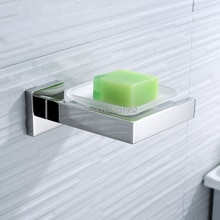 Porte-savon mural carré en acier   Inoxydable, porte-savon mural avec verre, panier à savon poli, accessoires de salle de bains