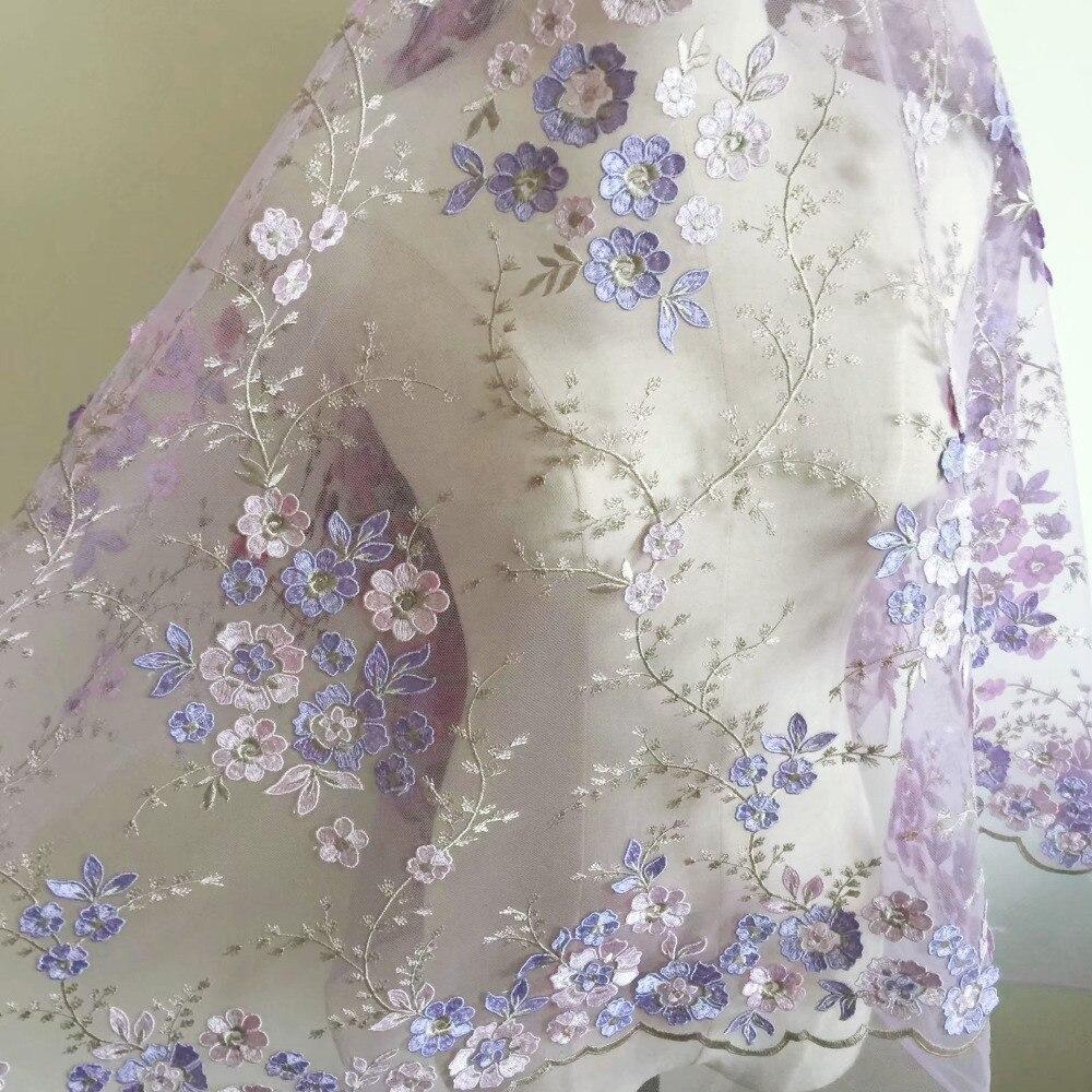 2019 novo multicolorido bordado 3d flores tecido de renda 4 cor vestido de casamento mão-decorado diy material rs64
