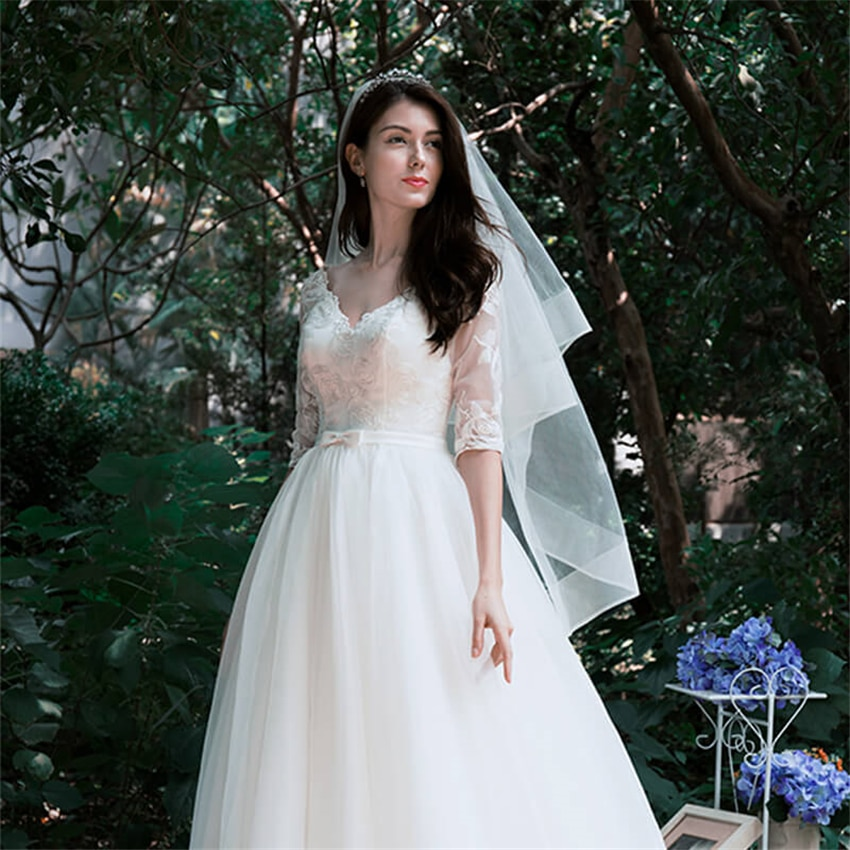 ISHSY Duas Camadas branco Marfim Tule vestido de Noiva Véu Véus de Noiva com pente Véus Elegante Mariage capina velos de novia 2019 vindima