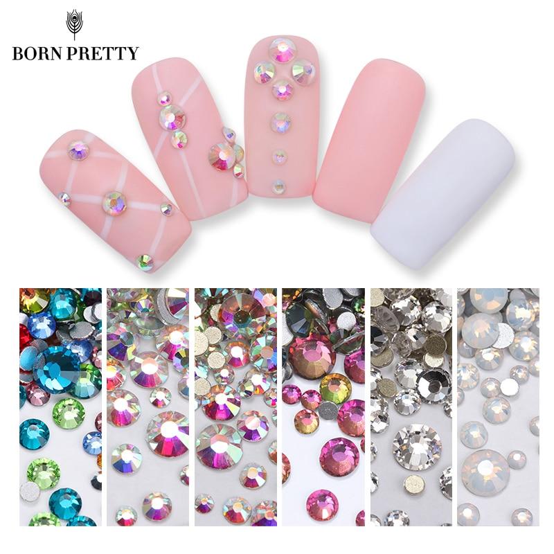 1 Bag AB Color White Opal Nail Crystal Rhinestone Shining Flat Bottom Multi-Size Nail Art 3D UV Gel DIY Decoration