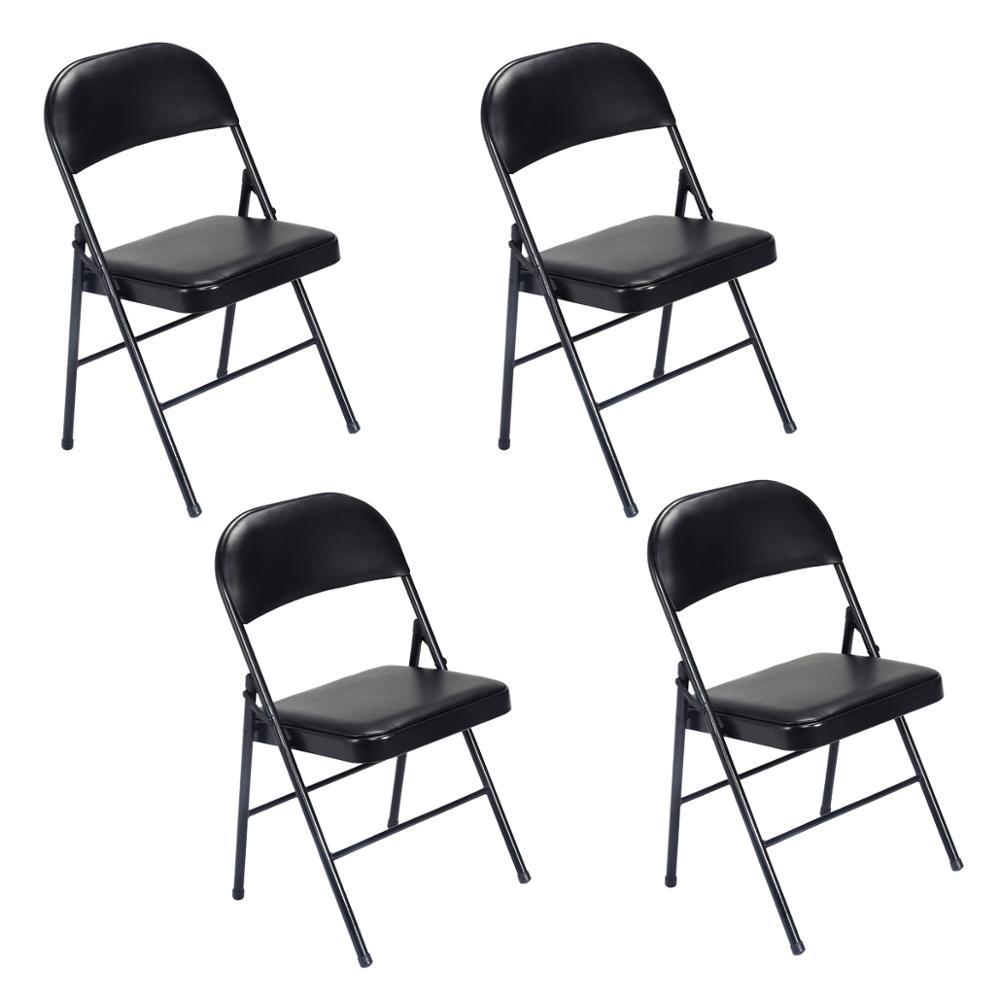 4 шт. складное кресло ткань мягкое сиденье металлическая рама для дома офиса
