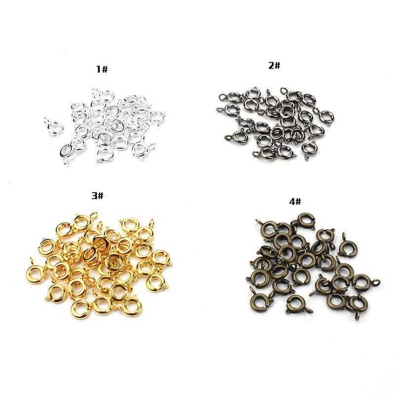 100 шт./компл. 6 мм DIY Ювелирные изделия серебряное позолоченное пружинное кольцо Круглые застежки для ожерелья и браслета