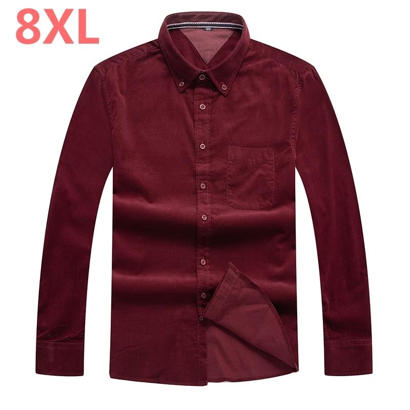 Plus 8XL 6XL 5XL 2018 moda 100% de algodón para hombres camisa hawaiana de manga larga Color azul Otoño Invierno Casual camisas para hombres