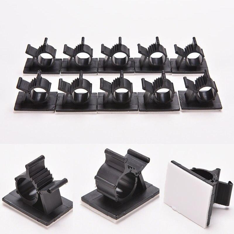 Clips para cables de escritorio, 10 Uds., Clips para la gestión del Cable adhesivo, abrazadera de fijación de Cable, soporte de Clip de Cable USB, abrazadera organizadora, sujetadores