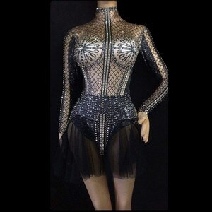 Women New Black Shining Rhinestone Singer Dance Evening Bodysuit Sexy Outfit Summer Glisten Transparent Mesh Bodysuit Costume