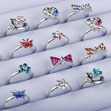 10pcs Kid Crystal Rings for Girl Adjust Colorful Crystal Cartoon Cat Bow Wedding Ring Gift aneis infantis para meninas