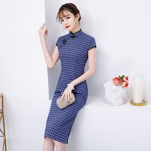 2019 Knee Length Cheongsam Traditional Chinese style Short Sleeve Dress Womens Summer Polyester Qipao Slim Party Dresses Vestido