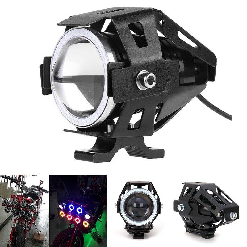 JX-LCLYL 125W U7 de la motocicleta del LED de ojo de Ángel faro Spot lámpara de luz de niebla de conducción