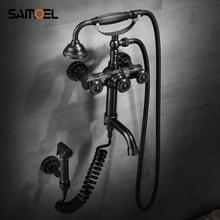Ensemble de robinets de douche classiques en laiton   Robinet mitigeur de baignoire en Bronze noir à montage mural avec Bidet à main SF1048