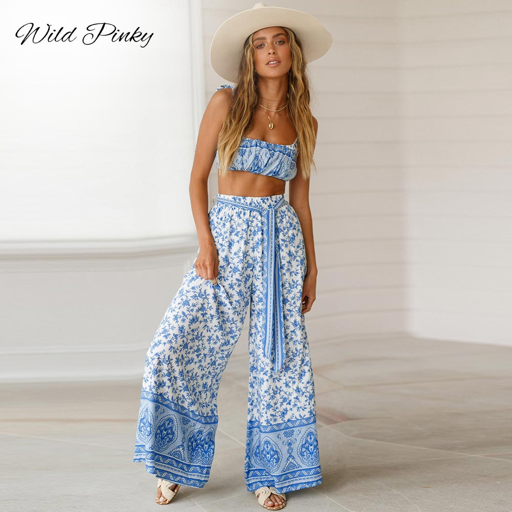 WildPinky Boho Casual Print Jumpsuit Romper Women Floral Two-piece Long Playsuits Summer Beach Loose Sashes Overalls Female women fashion boho o neck halter mini romper casual female playsuit floral print knotted design romper