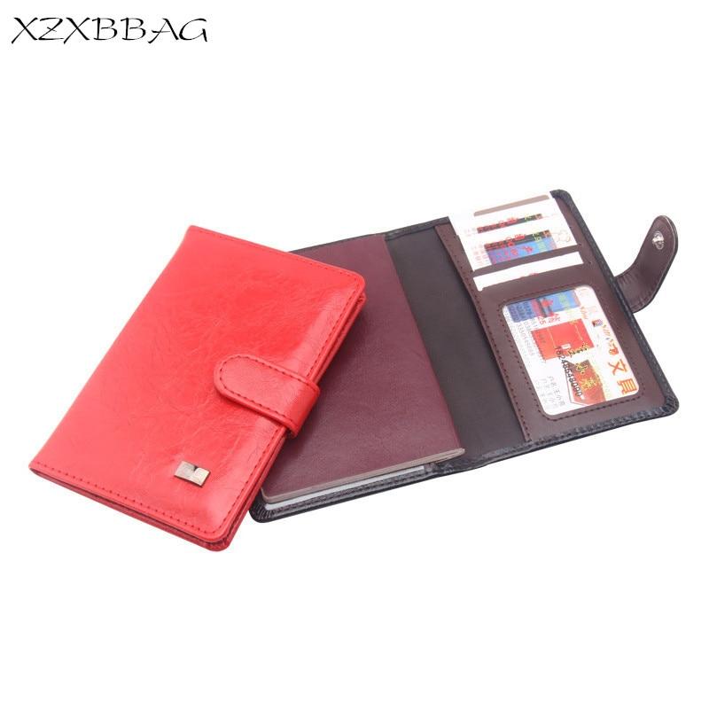 XZXBBAG de cuero de PU cubierta de pasaporte ID tarjeta de crédito titular de la tarjeta de crédito hombres mujeres Hasp negocios Paspoorthouder funda de billete tarjetero