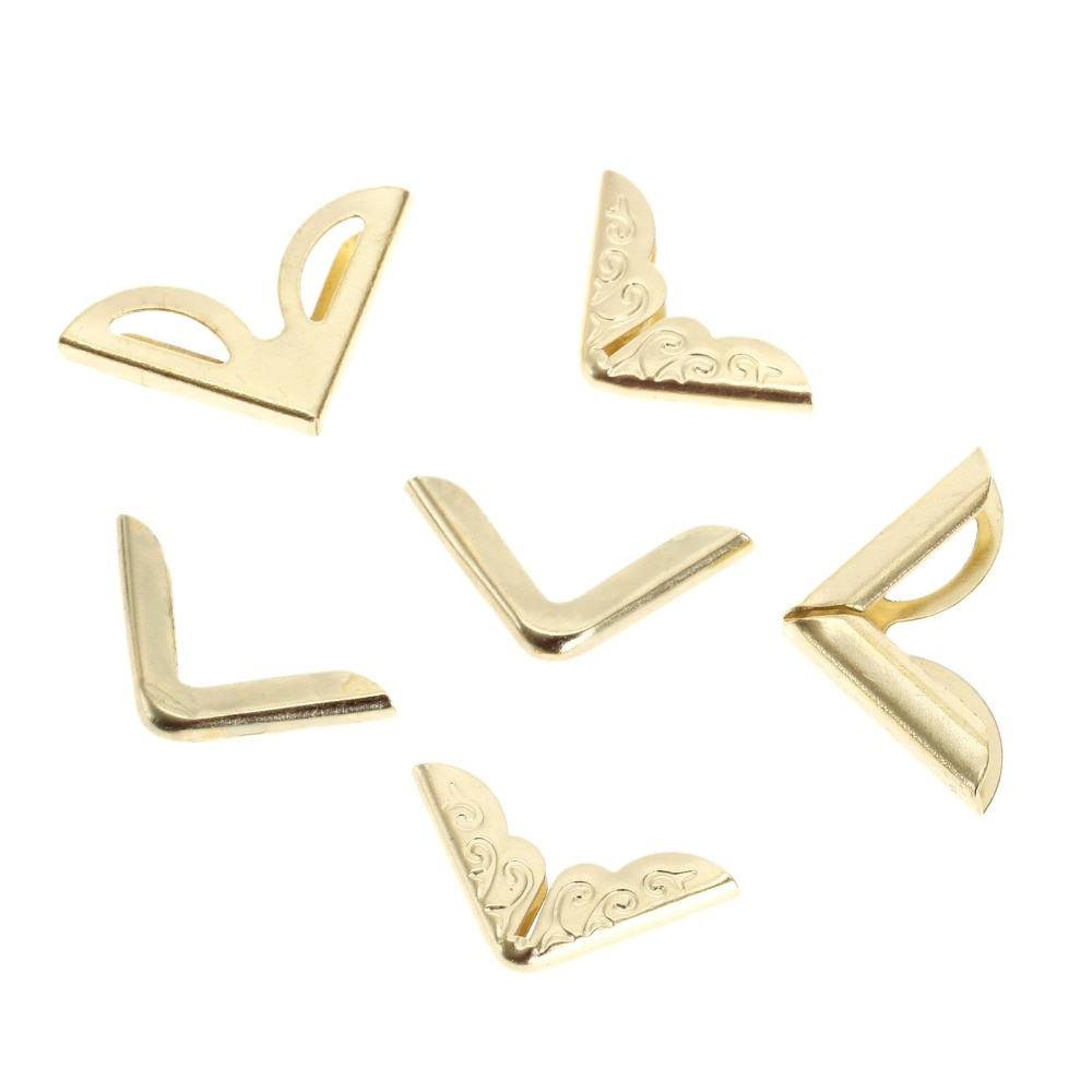 DRELD 100 шт Золотые декоративные металлические угловые скобы для книг Скрапбукинг Фотоальбомы меню Угловые протекторы поделки своими руками