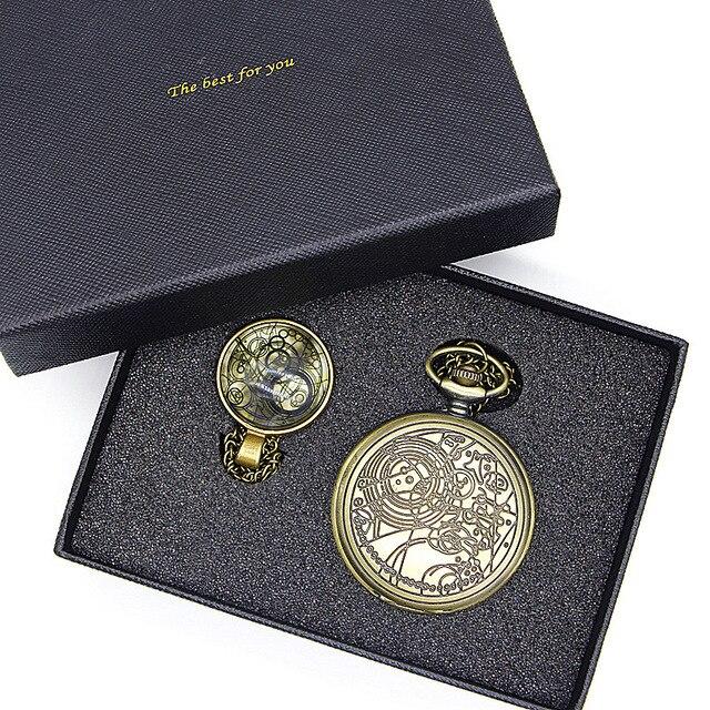 Doctor Who serie cúpula de cristal bronce cuarzo colgante reloj de bolsillo con collar cadena establece caja mejor regalo TPB039