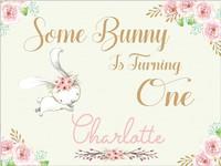Custom Bunny Rabbit Flower 1st Baby Shower photo backdrop High quality Computer print birthday backgrounds