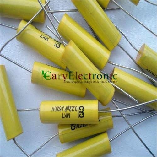 Venta al por mayor y al por menor de cables largos condensadores de película de poliéster amarillo Axial electrónica 0,22 uF 630V fr amplificador de tubo audio envío gratis