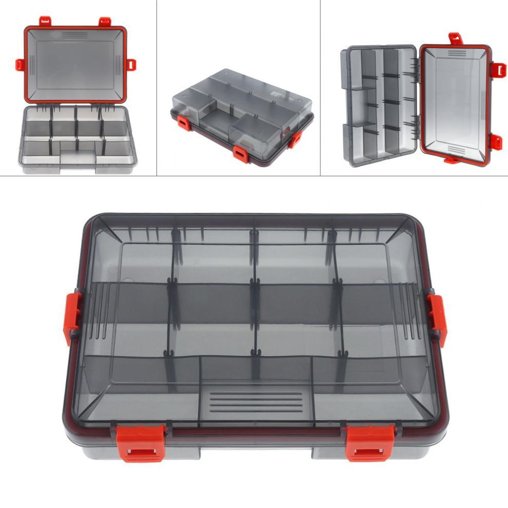 Impermeable multifunción actividad 11 compartimentos 4 bloqueo caja de aparejos de pesca para anzuelo de pesca señuelos y accesorios giratorios
