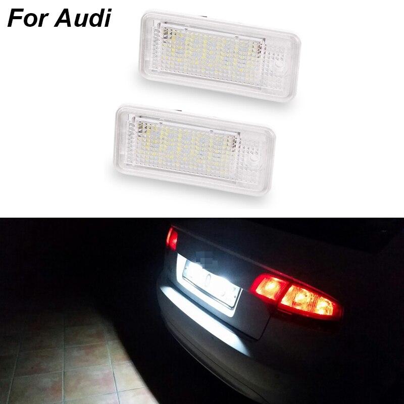 1 par/2 uds coche Led para placa de matrícula de luz blanca 6000k 3W 18 W SMD Led Bombilla número de placa para Audi A4 A6 C6 A3 B6 B7 S6 A8 Q7