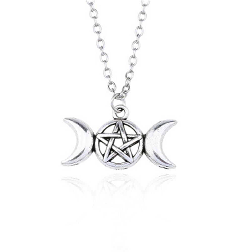 Vintage Trendy Schmuck Triple Mond Göttin Wicca Pentagram Magische Amulett Talisman Männer Anhänger Mond Halskette Frauen Tibetischen Collier