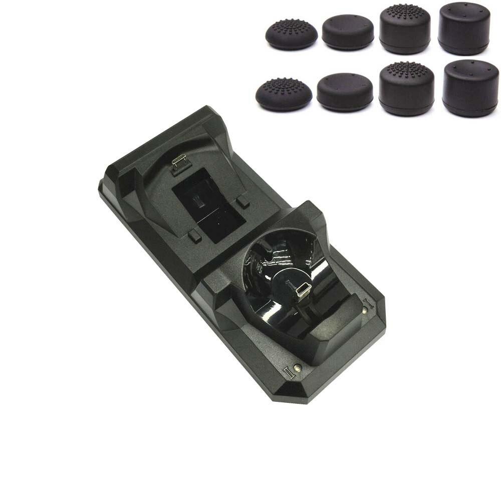 Controlador inalámbrico 3 en 1 PS4 PS Move PS3 soporte de estación de carga Dual para Sony PS4 PS3 Playstation 3 controlador de movimiento + 8 tapas
