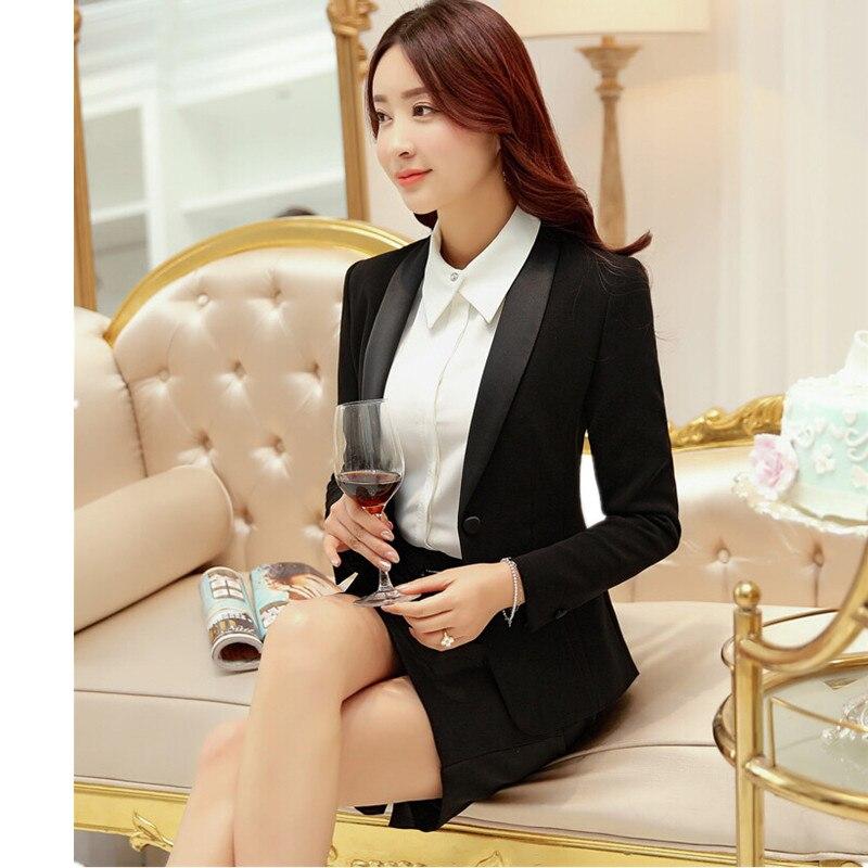 Costume deux pièces pour femmes (veste + jupe) bureau daffaires pour femmes salopette formelle mode femme slim costume jupe soutien personnalisé