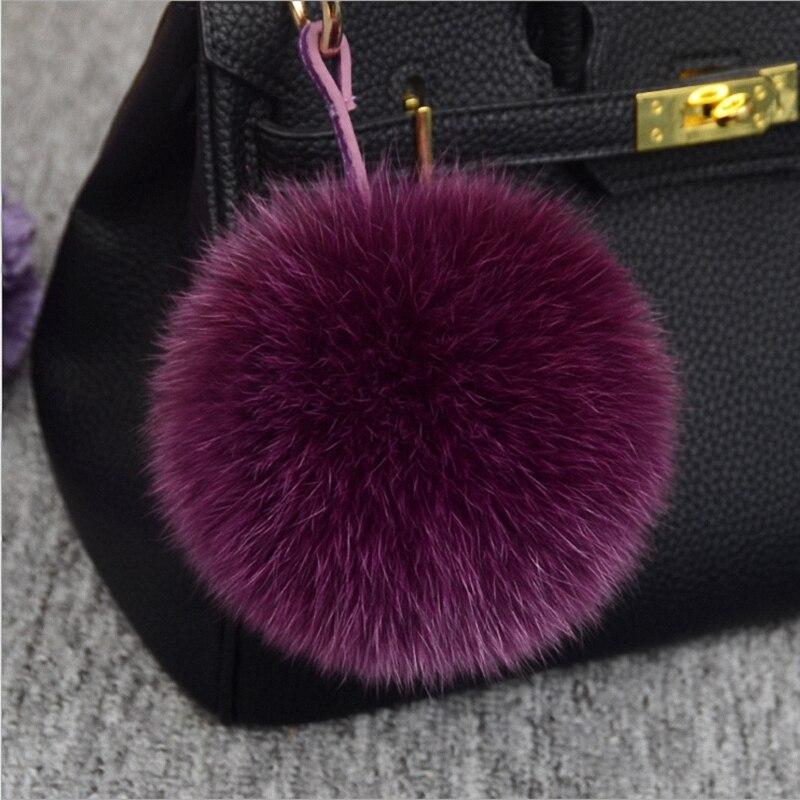 13-15 cm di Lusso Fluffy Reale della Pelliccia di Fox Sfera Pom Pom Peluche Formato Genuino Della Pelliccia Catena Chiave Anello di Metallo pendente di Fascino del Sacchetto K010-purple