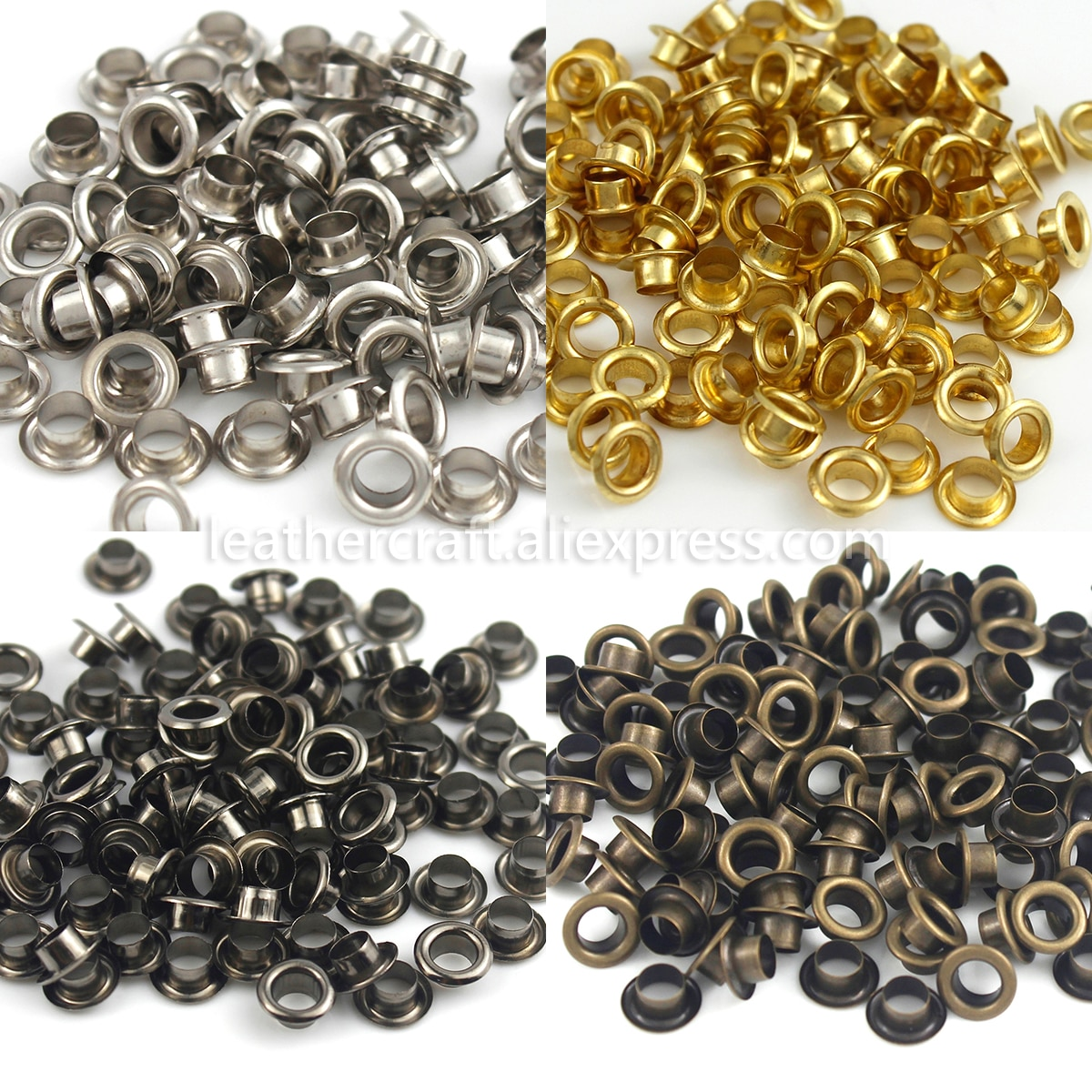 100sets 4mm Brass Eyelet with Washer Leather Craft Repair Grommet Round Eye Rings For Shoes Bag Clot