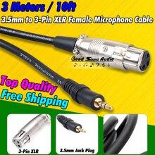 3 m 3 Pin XLR Dişi 3.5mm Fiş Bilgisayar Kondenser Kayıt stüdyo mikrofonu ses mikseri Dinamik Mikrofon kablo tel Kablosu PC cabo