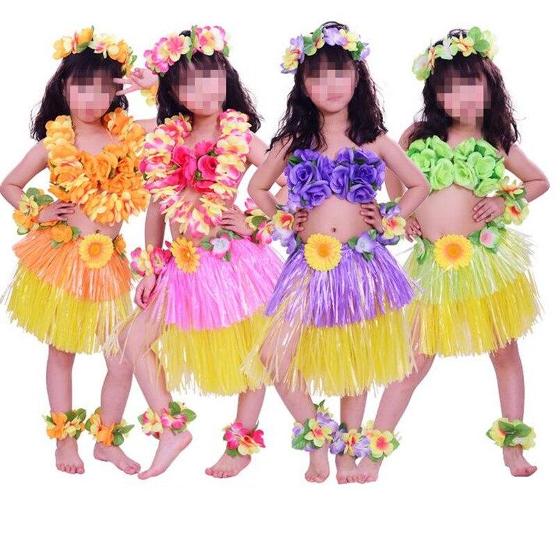 Nuevo Color doble Lei diadema flor guirnalda pulseras sujetador Hula faldas vestido de lujo conjunto de disfraces Hawaii fiesta Favor boda