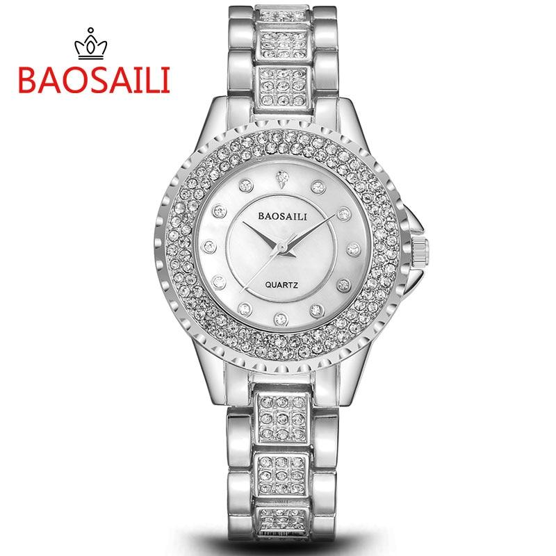 BAOSAILI, nuevos relojes resistentes al agua con diamantes de imitación para Mujer, Reloj de pulsera de cuarzo para Mujer, Reloj de acero inoxidable Hodinky Reloj para Mujer