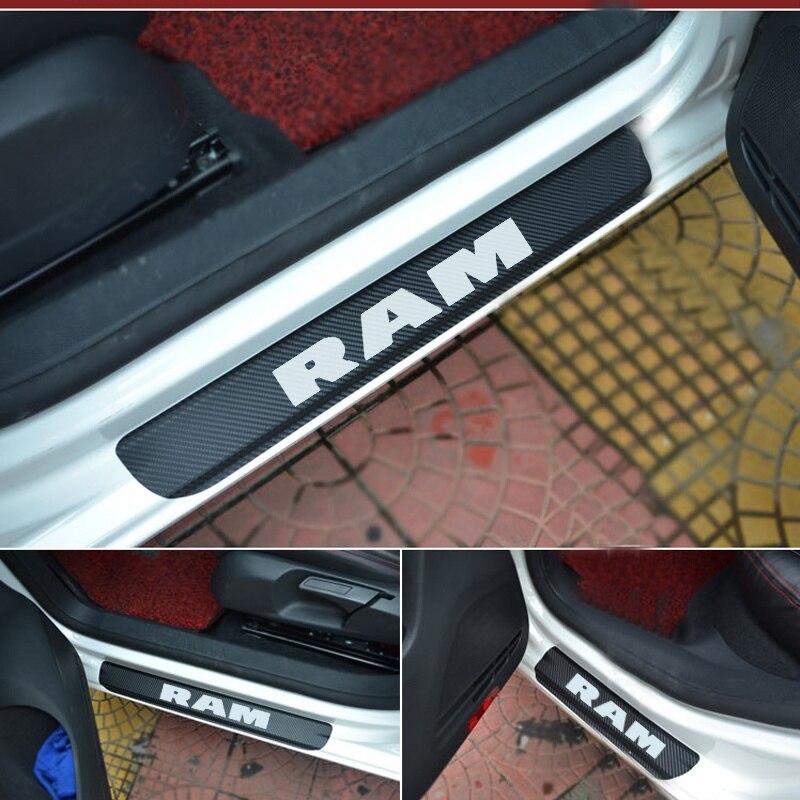 Autocollant de pare-choc de porte   Plaque de seuil de porte, en Fiber de carbone, autocollant de pare-choc de voiture, autocollant de porte, plaque de décoration