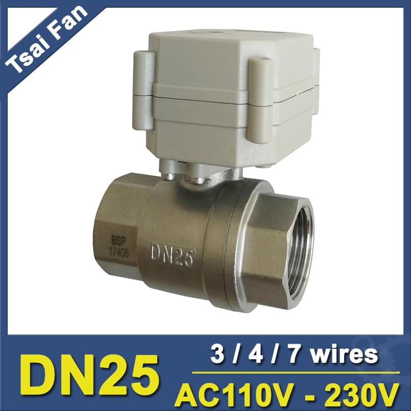 "AC110-220V BSP/NPT 1 ""válvula motorizada automatizada con indicador 3/4/7 alambres TF25-S2-C engranaje de Metal de acero inoxidable DN25 CE/IP67"