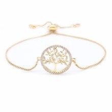 Nouveau zircon cubique arbre de vie Bracelet chaîne en or Bracelets de mode charme Bracelets pour femme bijoux en cristal cadeau MBR190054