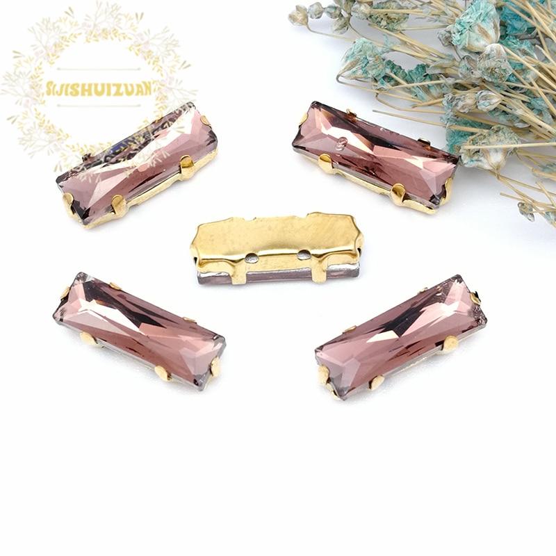 5*10 5*15 türkis blau Rechteck Glas Kristall nähen auf strass mit gold klaue Diy hochzeit kleid zubehör Freies verschiffen