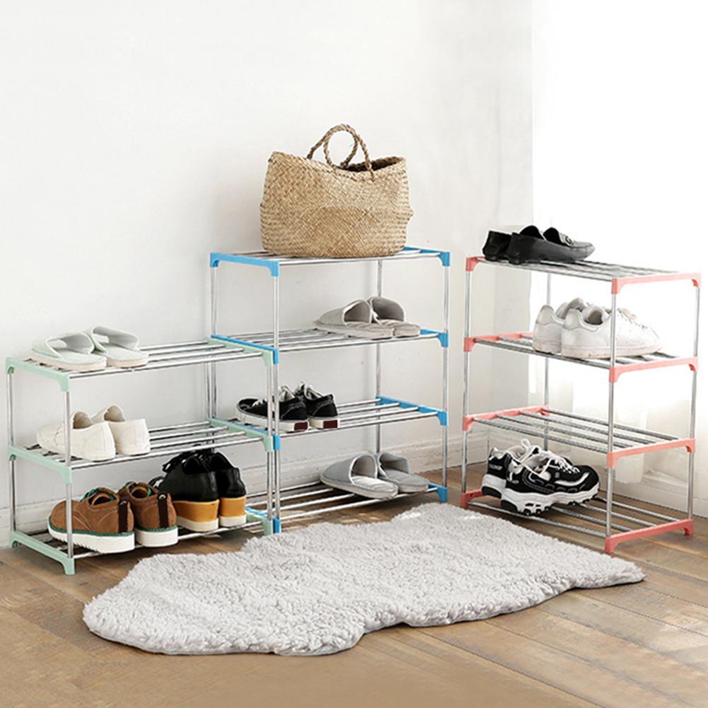 New 3/4 Layers Stainless Steel Shoes Storage Rack Shoe Storage Display Shelf Holder Cabinet Shelf Holder Shoes Racks Home Organi
