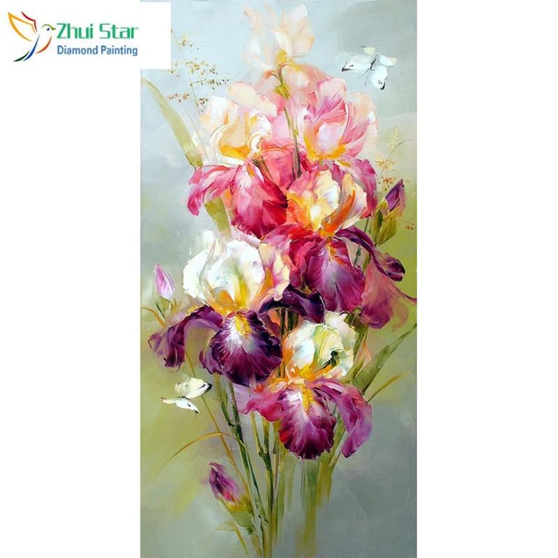 3d padrão de diamante bordado diy íris flor pintura diamante ponto cruz broca cheia strass pintura decoração
