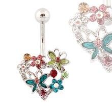 Piercing nombril anneaux coeur fleur papillon nombril anneaux mode corps bijoux en gros 14G acier chirurgical acier médical
