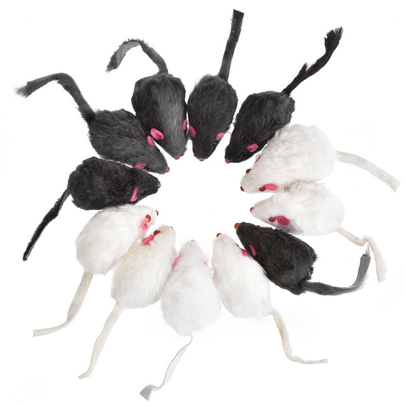 12PCS Cat Toy Mouse Real Fur Mixed Loaded Black White Mouse Toys Cat Teaser Kitty Kitten Funny Sound