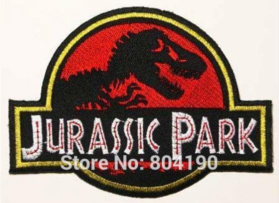 Parque Jurásico Prop parque temático de la película de la TV serie uniforme punk rockabilly applique/hierro en parche venta al por mayor envío gratis