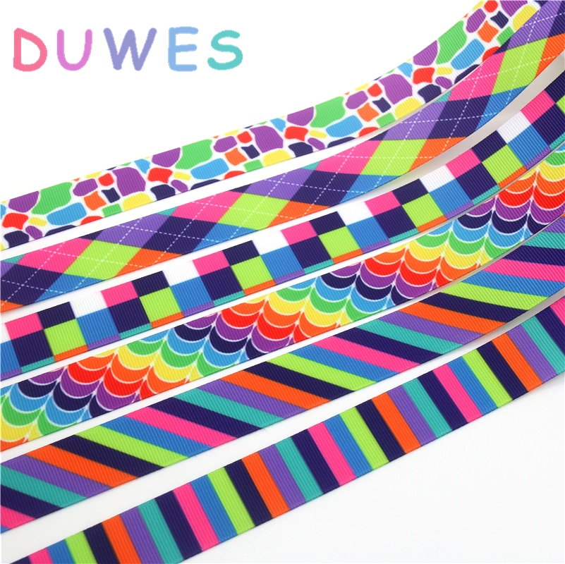 DUWES 50 metros xadrez tarja cores Impressas Gorgorão Fita Acessório hairbow headwear decoração DIY Atacado OEM D1098