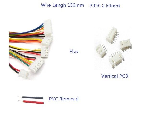 20 Sets XH2.54 JST 2,54mm entrada superior, 2, 3, 4, 5, 6 7 8 9 10 Pin de crimpado de 150 mm UL 1007 26 AWG cable electrónico + Header