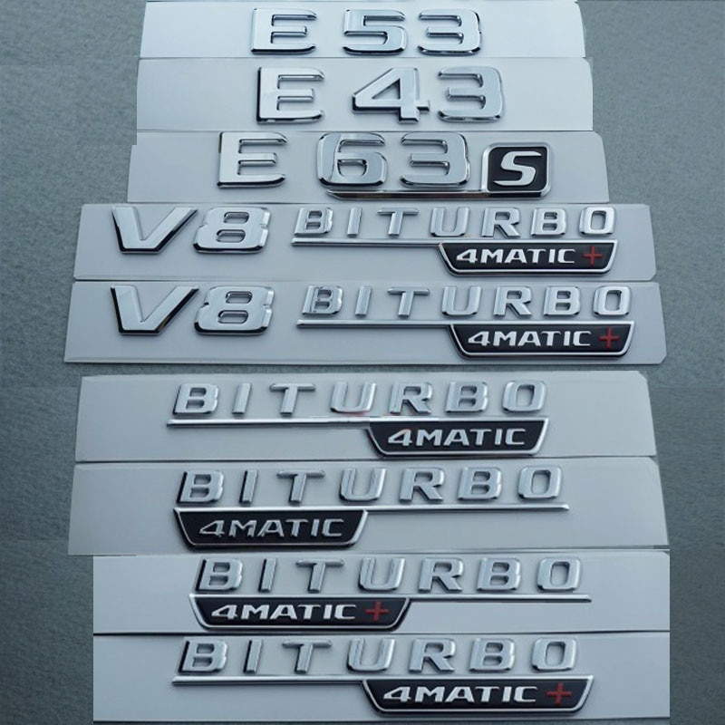 17-18 2 uds V8 BITURBO 4matic TURBO 1pc E53 E43 E63S guardabarros coche emblema para Mercedes Benz AMG 4MATIC