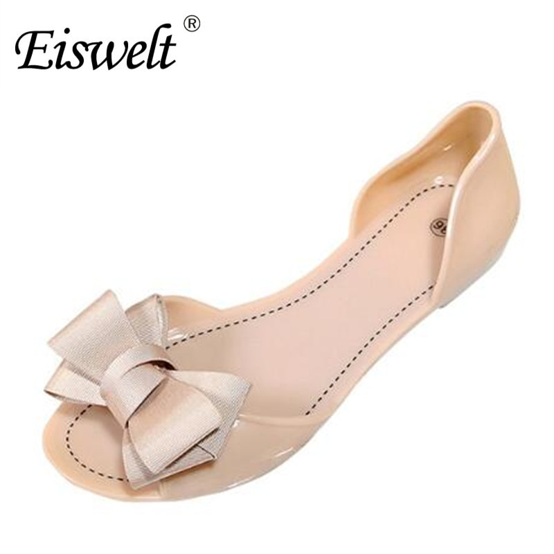 Nuevas sandalias dulces con moño para mujer Eiswelt 2017, zapatos planos para mujer, zapatos de verano jelly, 4 colores, tamaño 35-39 # DZW23
