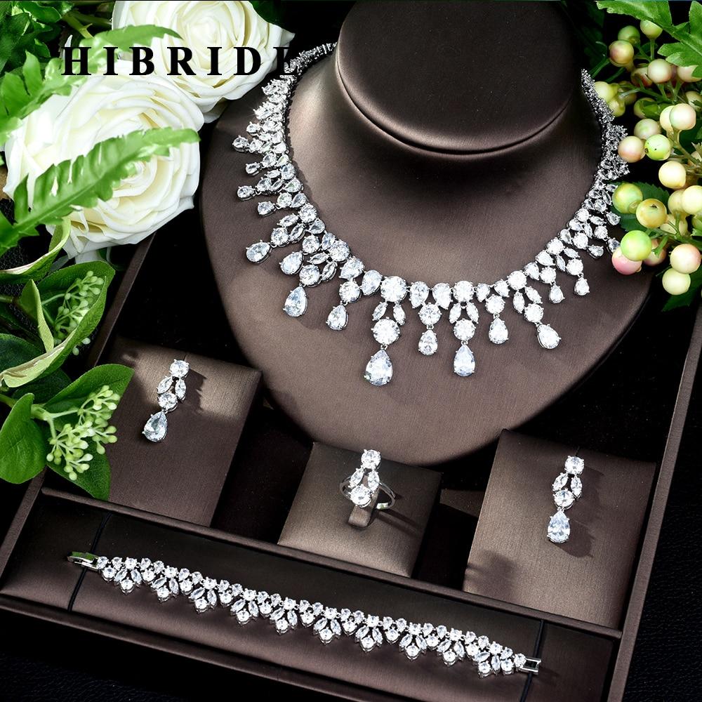 HIBRIDE دبي 4 قطعة مجموعات مجوهرات الزفاف زركون للنساء حفلة ، الفاخرة نيجيريا تشيكوسلوفاكيا كريستال مجوهرات الزفاف مجموعات N-182