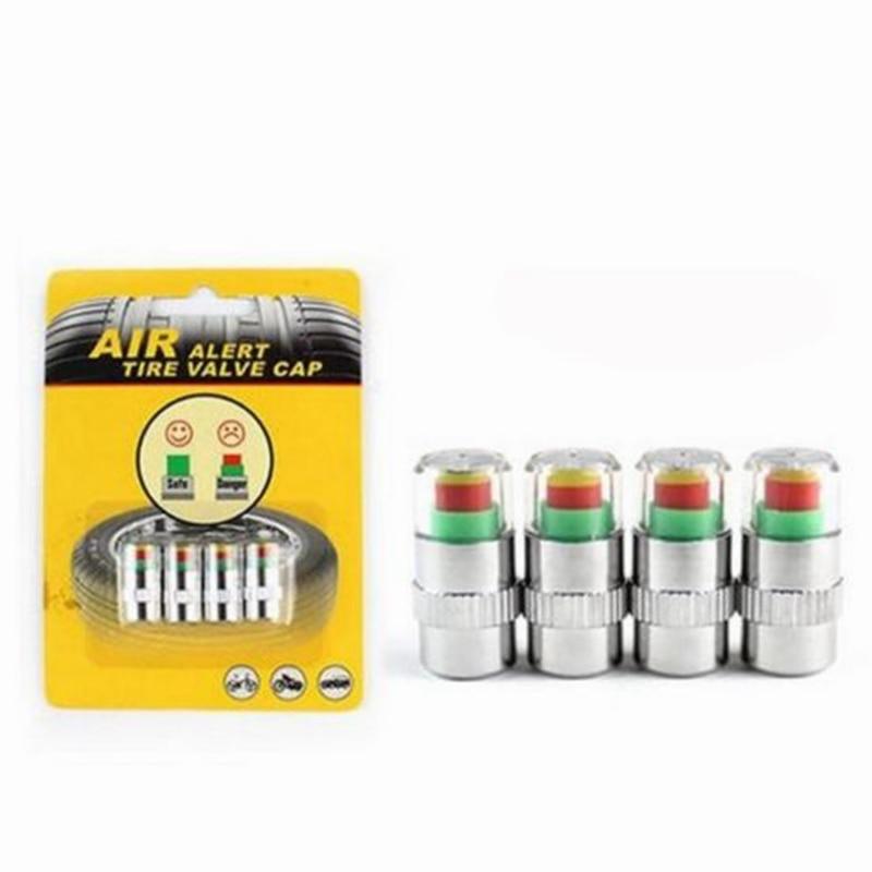 4Pcs Auto Car Tire Air Pressure Monitor Alert Indicator Tire Valve Cap Gauge Stem TPMS Tire Pressure Monitoring Tyre Accessories